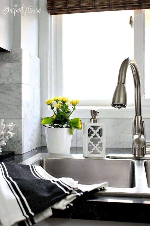 kitchen makeover | black & white | classic & contemporary | wood floors & Carrera marble | DIY