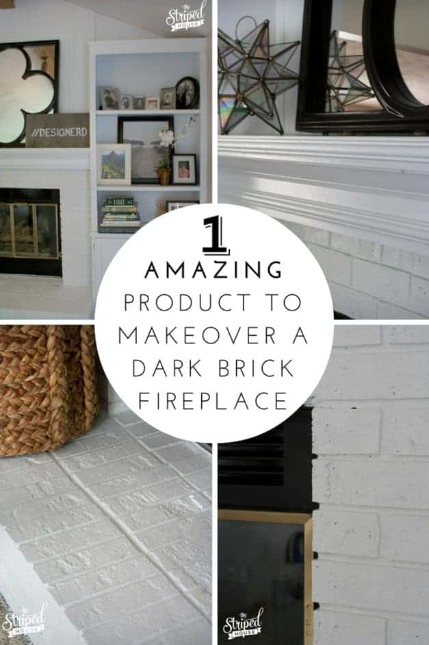 one product brick fireplace makeover the striped house Fireplace & built-ins makeover