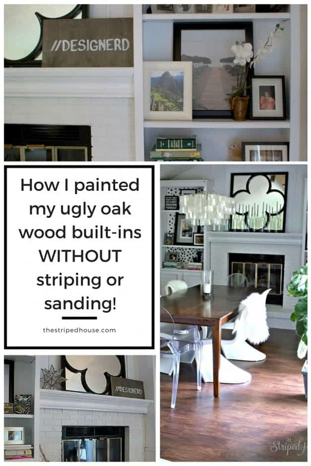 No sanding or priming wood built in bookcase Fireplace & built-ins makeover