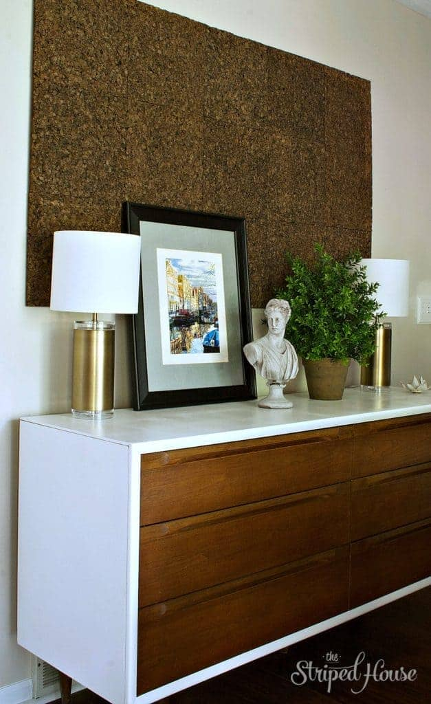 This credenza makeover turned this Scandinavian midcentury modern bedroom dresser into a contemporary dining room sideboard.