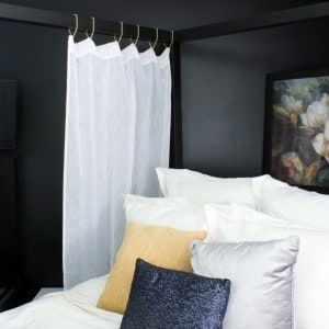 Hanging Bed Drapes with Gold Chains