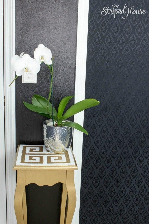 One Room Challenge Master Bedroom Orchid on Greek Table in Master Bedroom