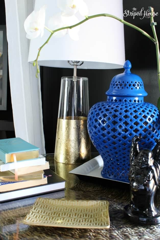 The Striped House - Gold Foil & Spray Paint Nightstand Mini Makeover