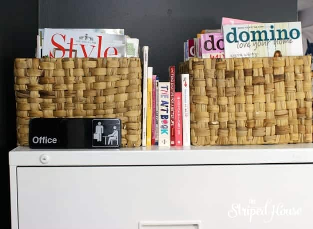 black and white office magazine storage The Striped House