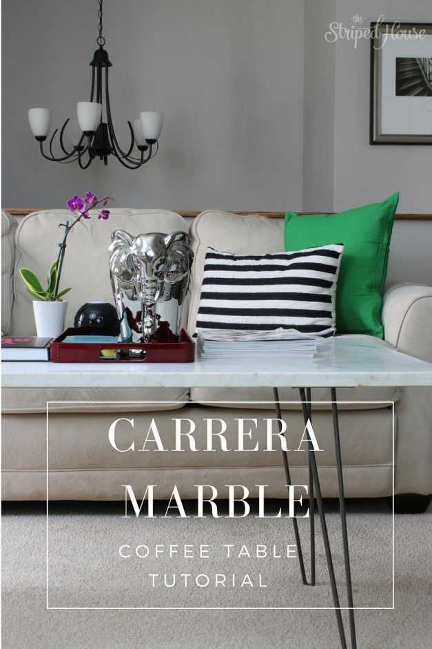 Tutorial: DIY marble coffee table using a slab of Carrera marble and midcentury hairpin table legs.