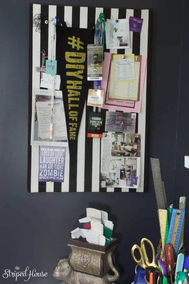 the striped house bulletin board black and white office tour