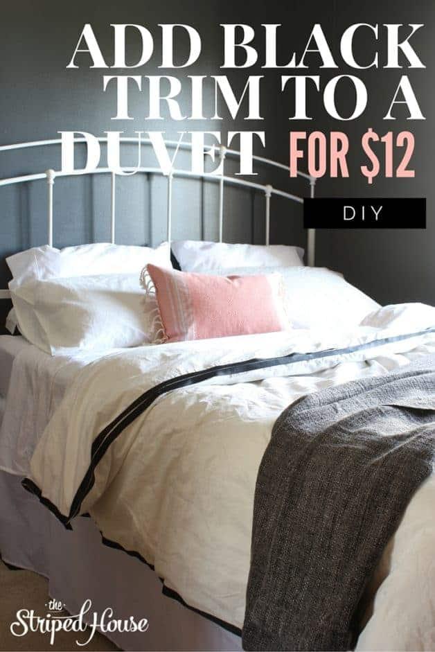 Add black trim to a duvet for $12