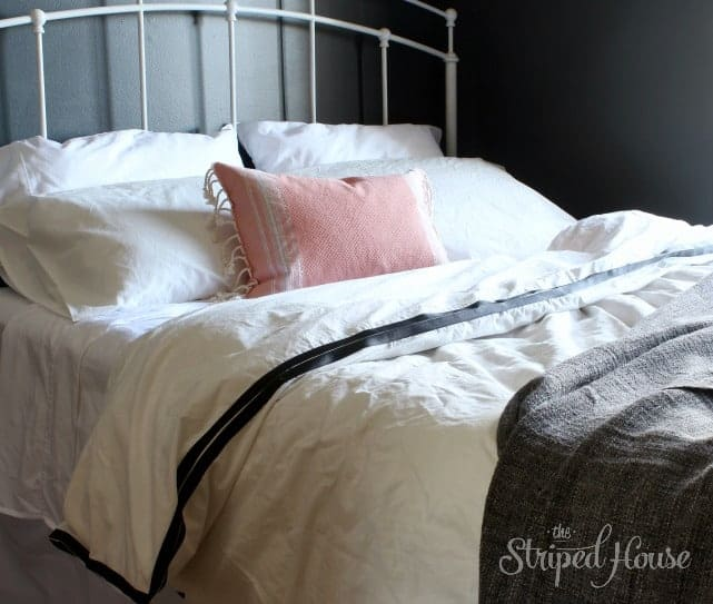 one room challenge black white bedding the striped house