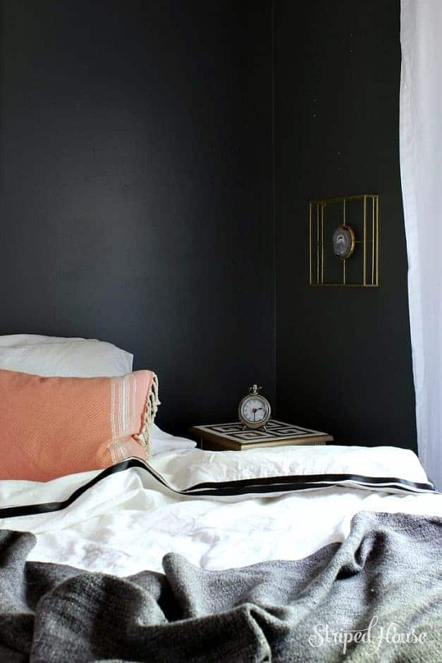 black and white bedroom makeover the striped house one room challenge