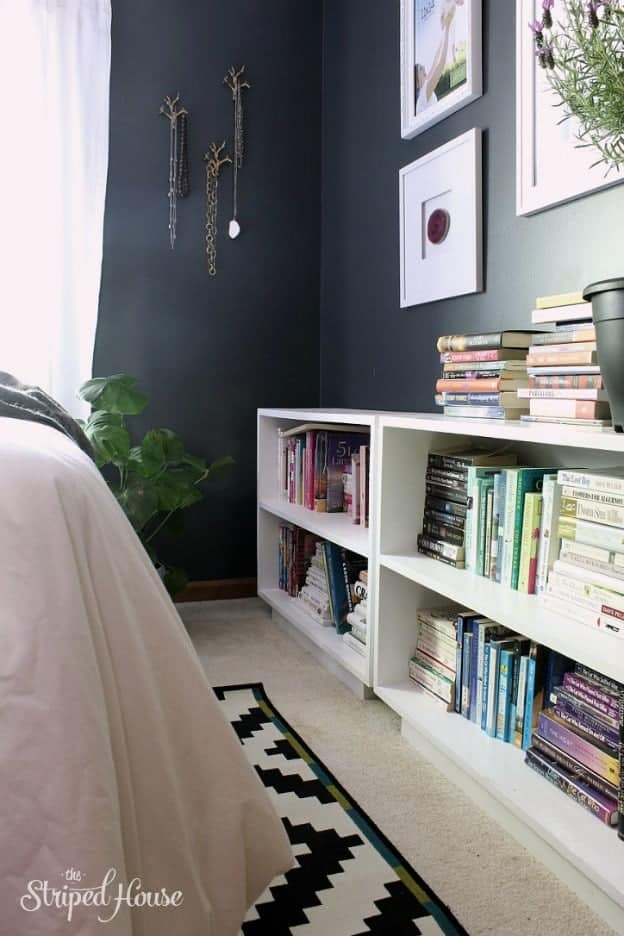 bookcases black and white bedroom makeover one room challenge