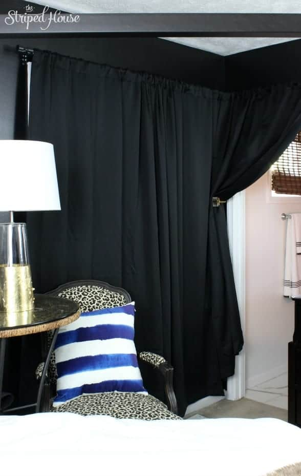 curtain tie back hack bedroom black