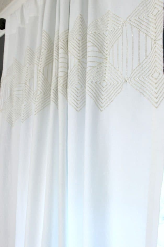 guest bedroom gold embroidery curtains