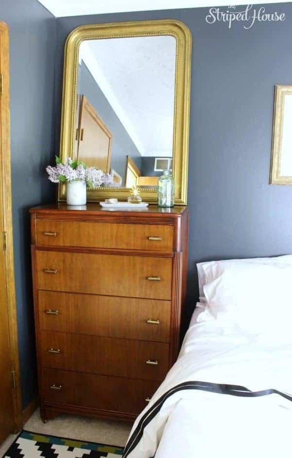 vintage deco dresser gold mirror black white bedroom makeover