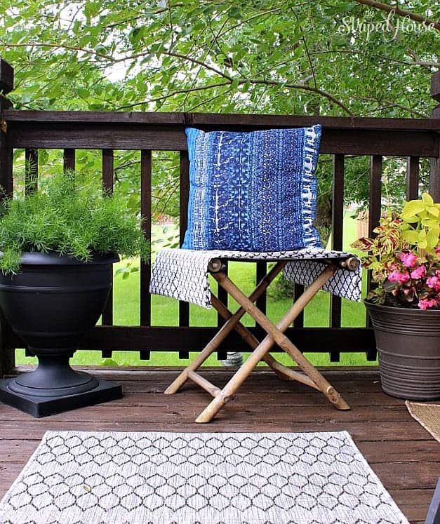 backyard deck plant rug seating The Striped House