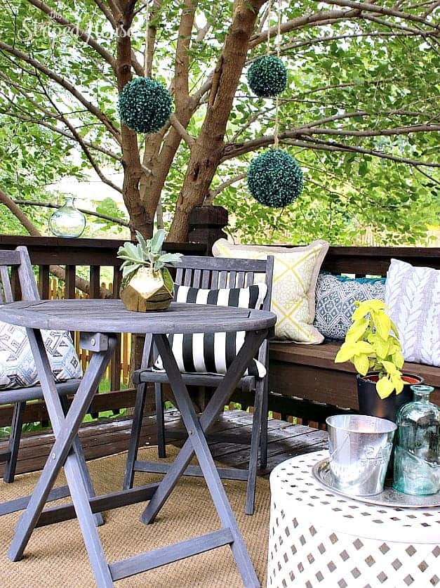 backyard patio tour trees eclectic summer The Striped House