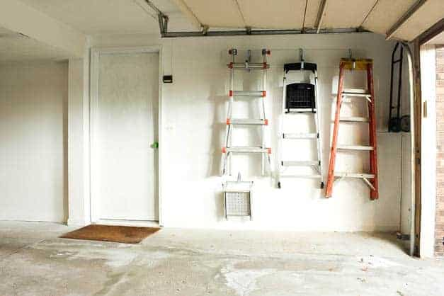 garage-makeover-ladders-hung-on-wall