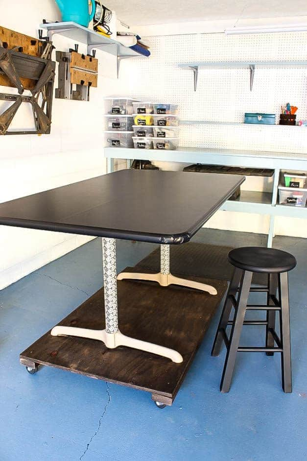 garage-makeover-rolling-table-and-stool-one-room-challenge-the-striped-house