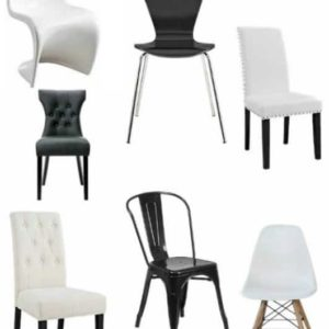 10 BLACK AND WHITE KITCHEN CHAIRS UNDER $75