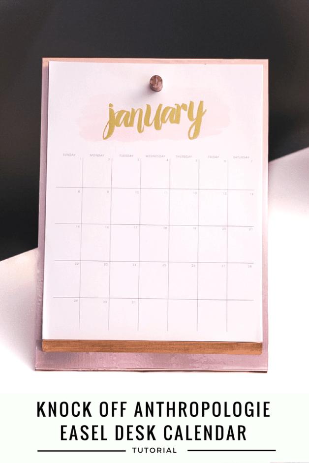 knock off version of Anthropologie easel desk calendar