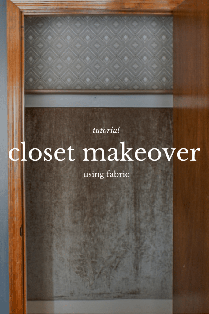 Guest bedroom closet makeover using three different fabrics, click for full tutorial.
