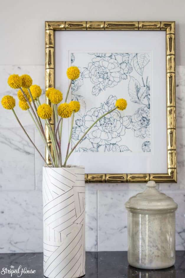 DIY vase inspired by Miles Redd's Deconstructed Stripe wallpaper.