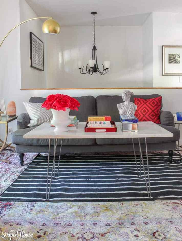 Living Room Makeover | The Striped House | One Room Challenge | modern traditional eclectic decor