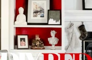 DIY Red Bookcase Background Tutorial The Striped House
