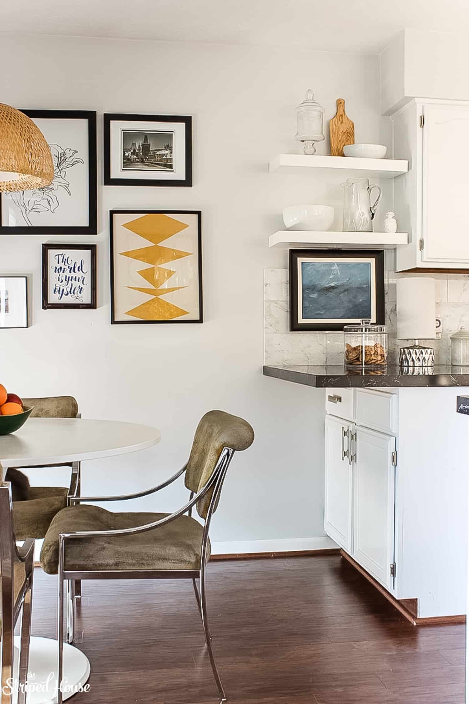 Milo Baughman MCM chairs in black and white traditional contemporary kitchen refresh #midcenturymodern