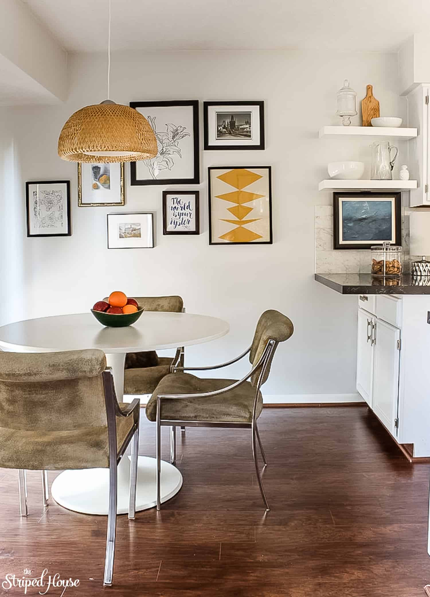 In six short weeks, I DIY'ed the eating area of my black and white traditional, but contemporary, kitchen.