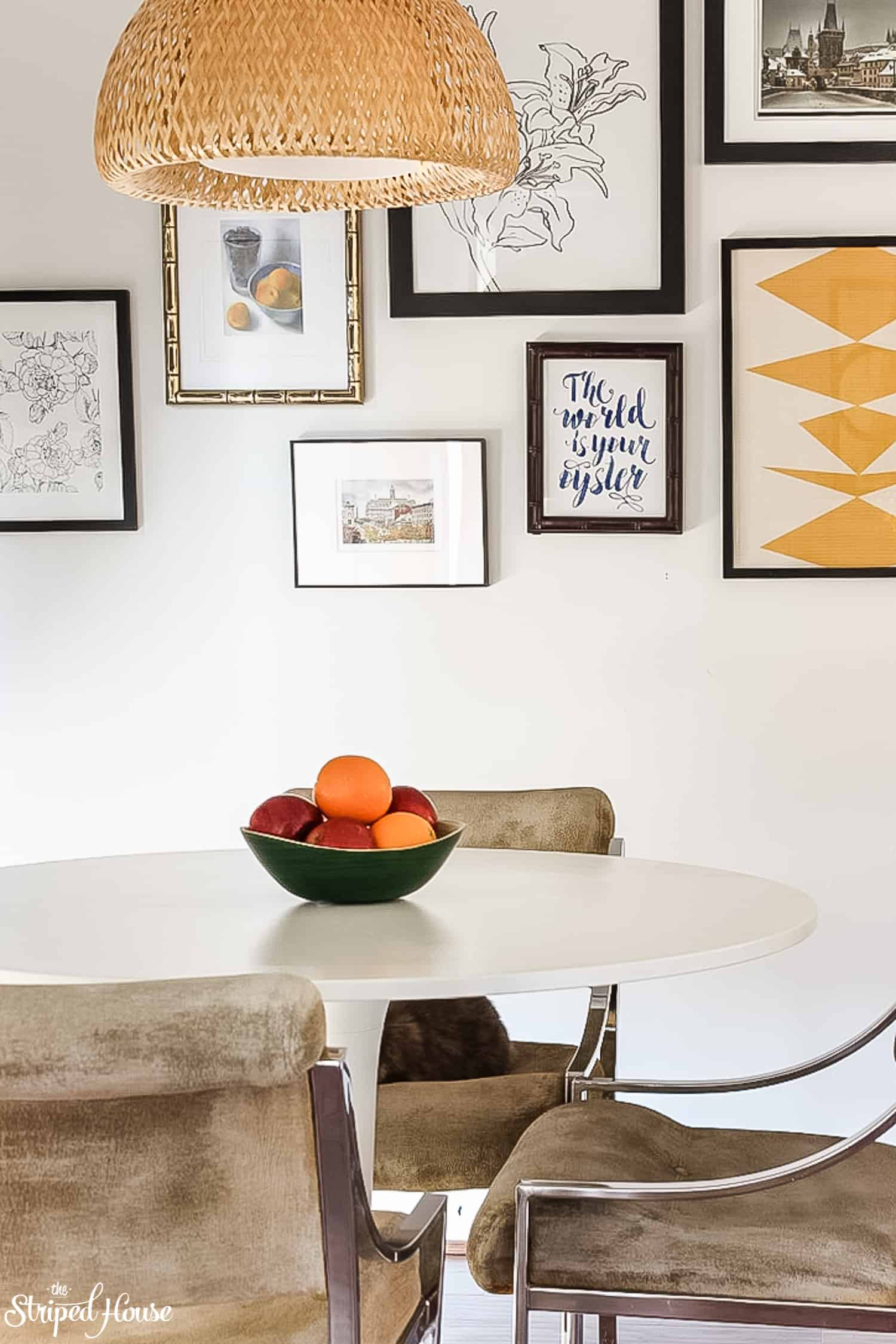 refinished midcentury modern furniture in a traditional contemporary kitchen refresh
