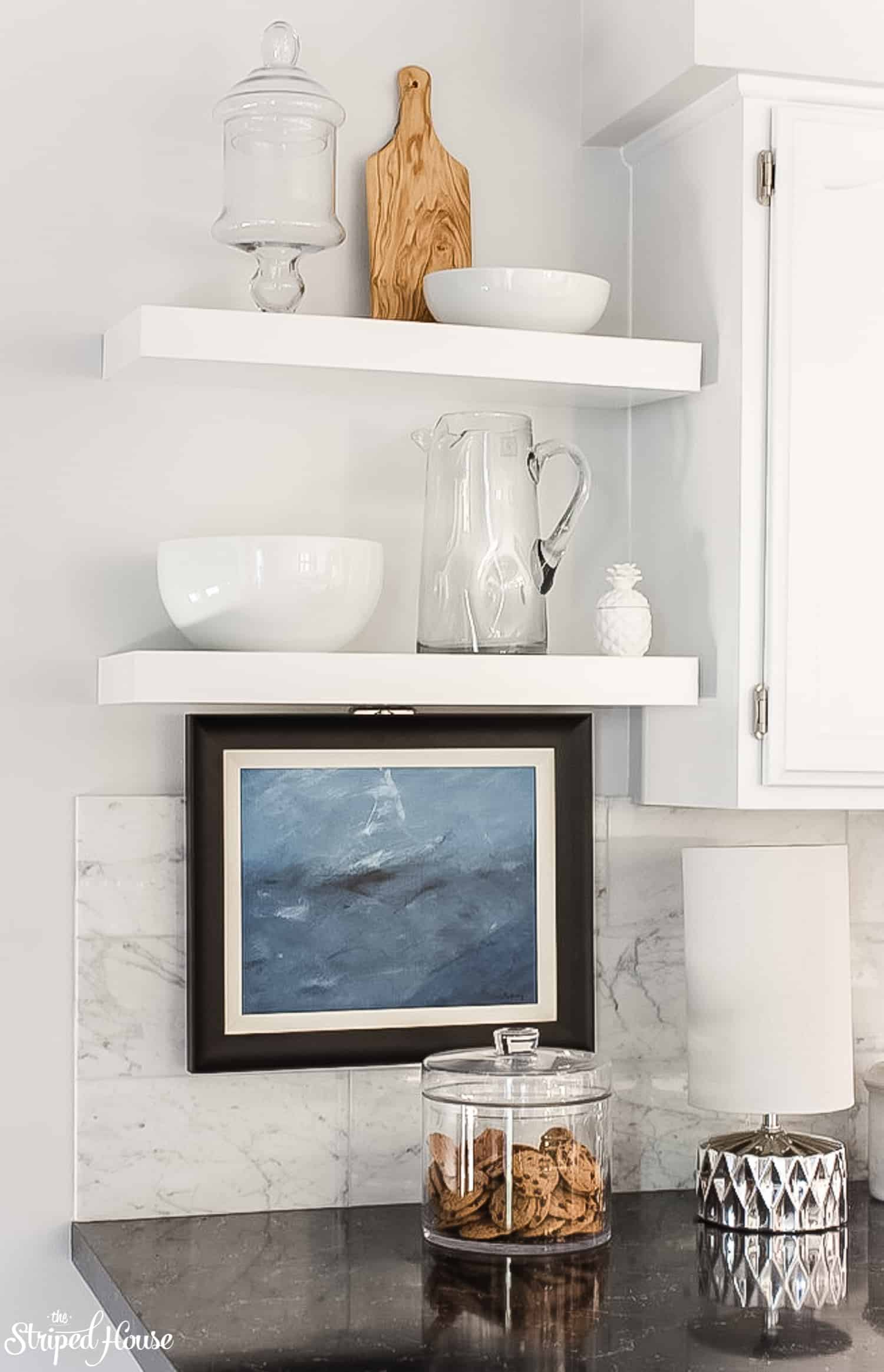 white floating shelves installed in a traditional contemporary kitchen refresh