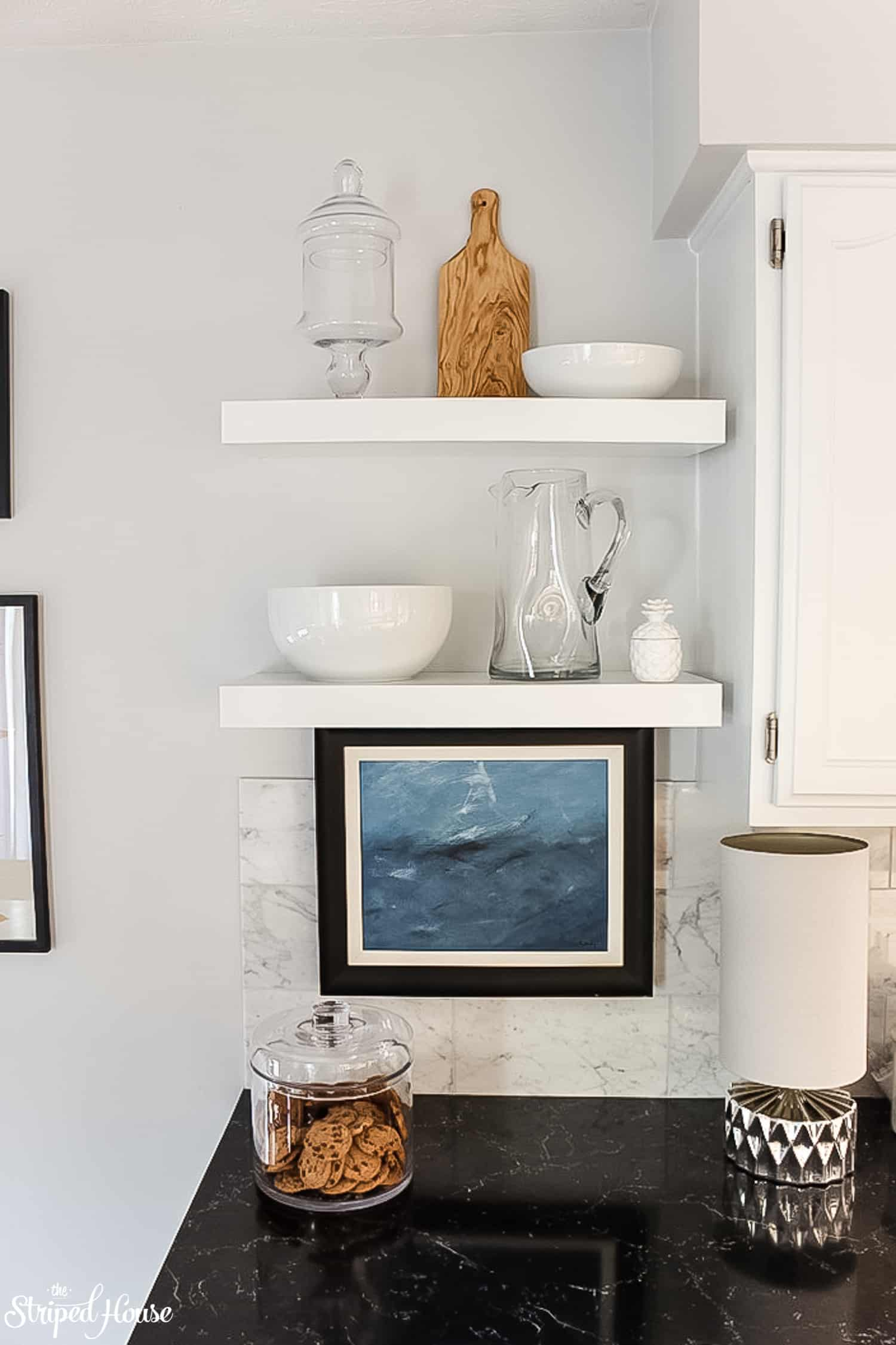easy to install DIY floating shelves in black and white traditional contemporary kitchen refresh