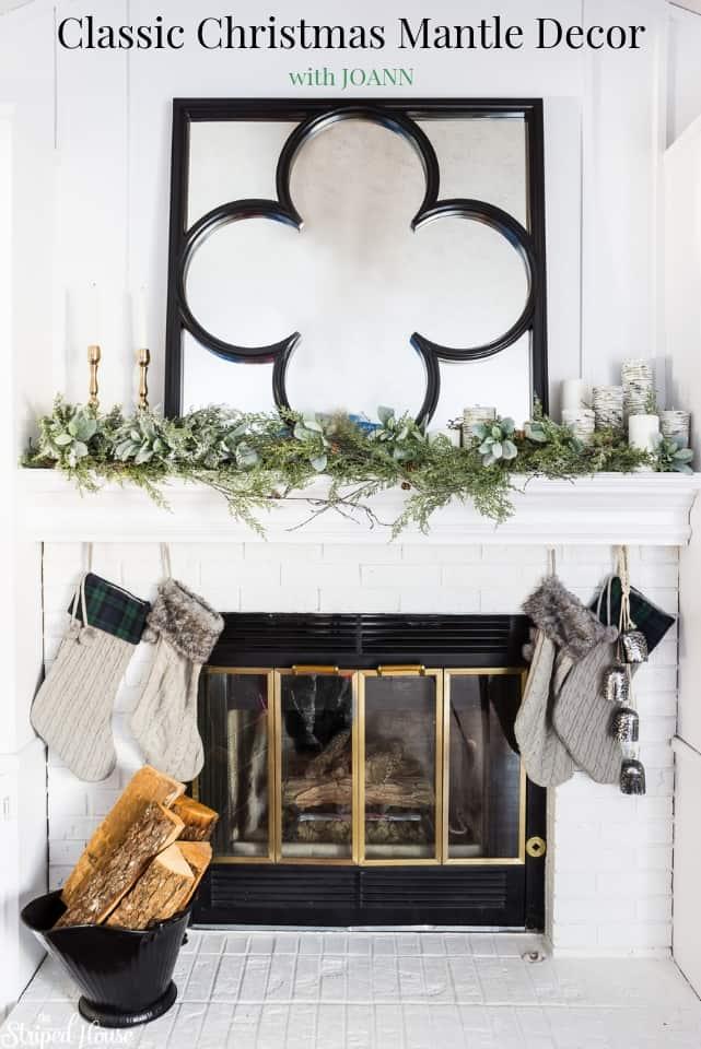 A classic traditional Christmas decor look in greens, black and white. Different garlands blended together to create custom decorations for a mantle. #christmas #christmas2018 #christmasdecor #christmasdecorating #christmasdecorations #homemadewithjoann
