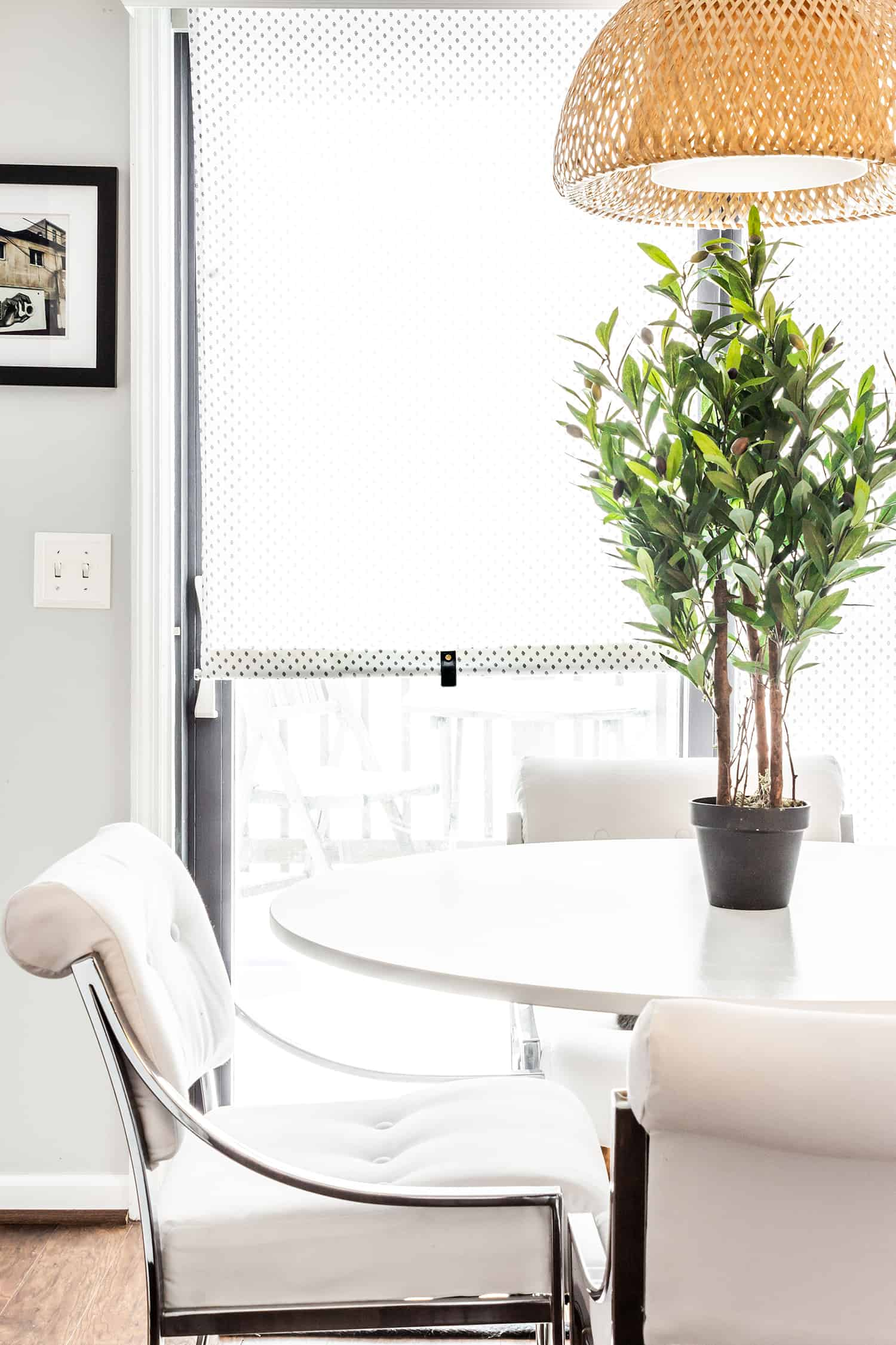 DIY to create a pull for a window roller shade, IKEA hack, window treatment, window shade pull, pull down roller blind.