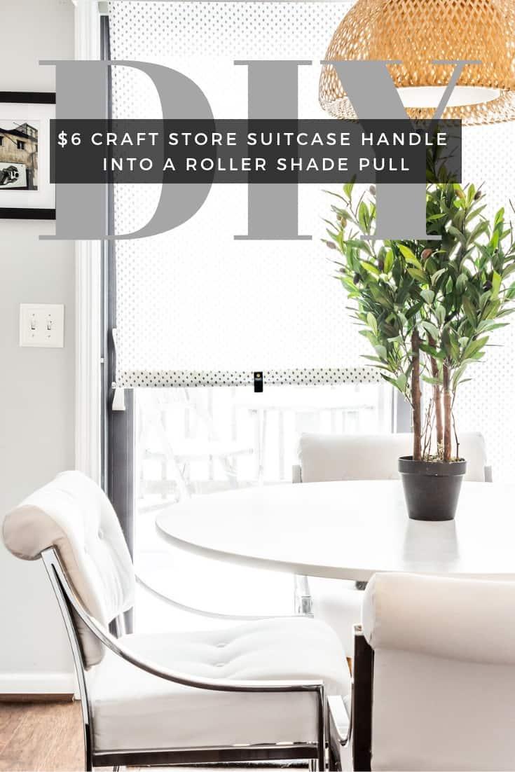 DIY window roller shade, IKEA hack, window shade pull, pull down roller blind.