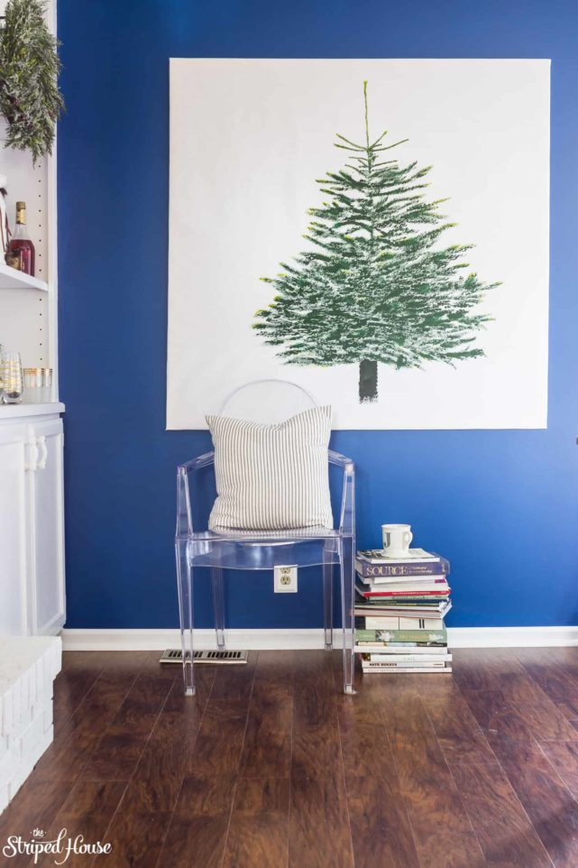 DIY hack for IKEA MARGARETA Christmas Tree fabric from VINTER holiday collection. It makes great wall art during the holiday season. #ikeahack #ikea #ikeachristmas #diy #christmas #VINTER #christmasdecor