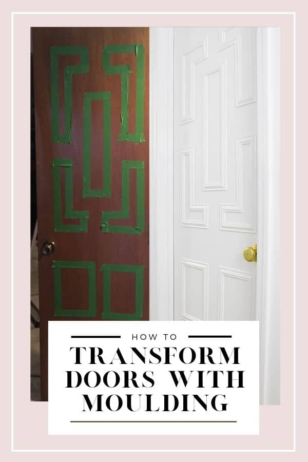 How to create high end looking interior doors from plain flat front hollow core interior doors using decorative trim moulding and white paint. #highenddiy #makeover #doors #diy #interiordesign #homedecor